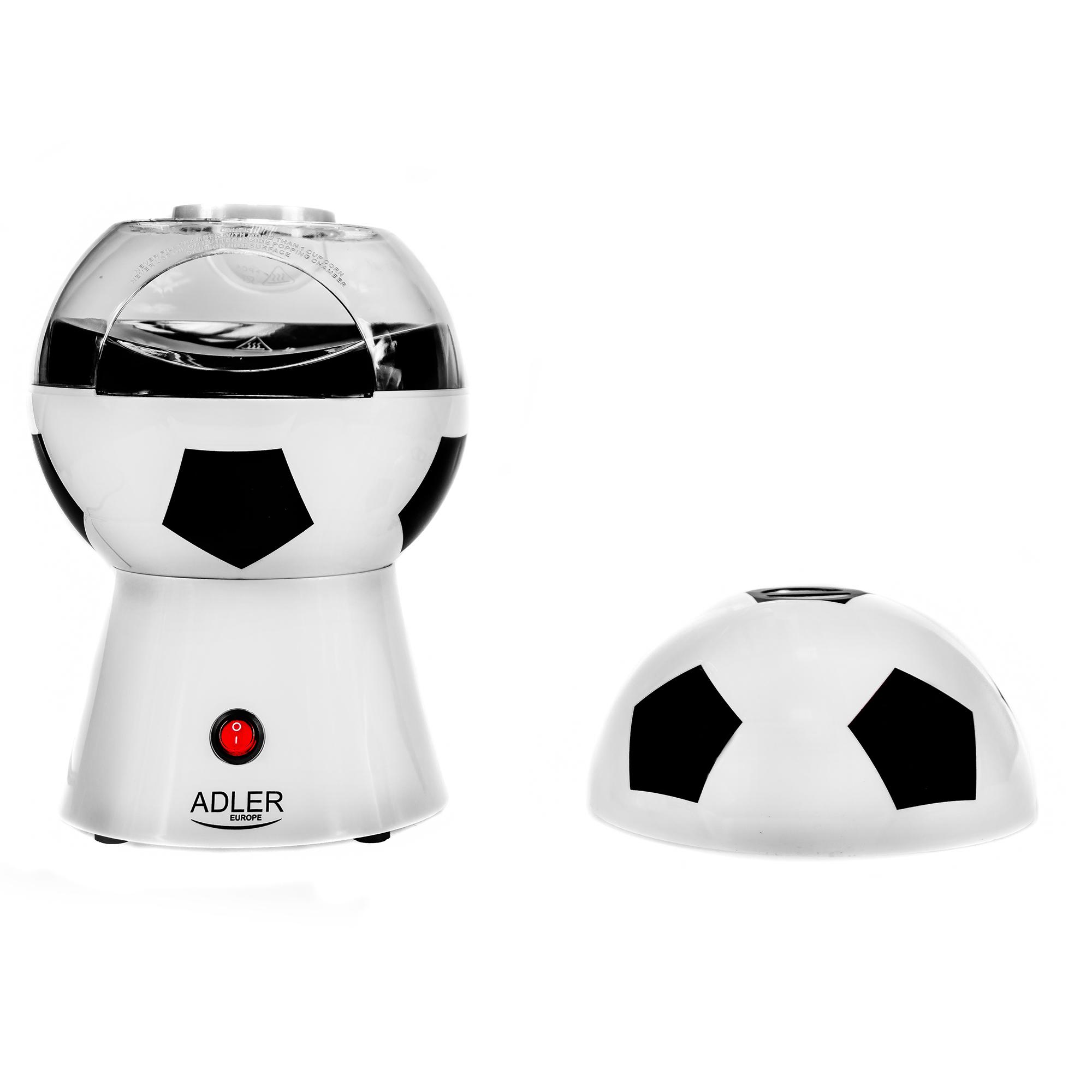 Adler AD 4479 Palomitero | Maquina de Palomitas de maíz, Aire Caliente Sin Grasa Aceite, Forma de Balón de futbol, Eléctrica, 1200W