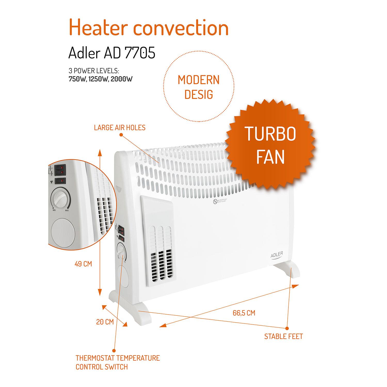 Adler AD7705 Convector aire caliente con termostato regulable para un bajo consumo,