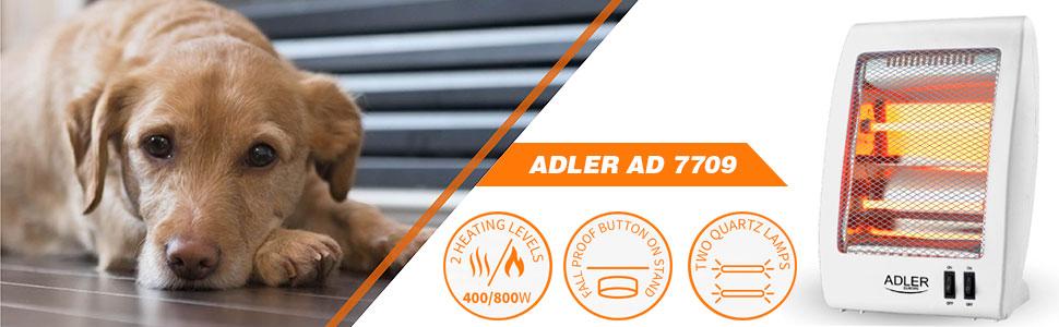 Adler AD7709 Estufa eléctrica de cuarzo portátil, radiador halógeno