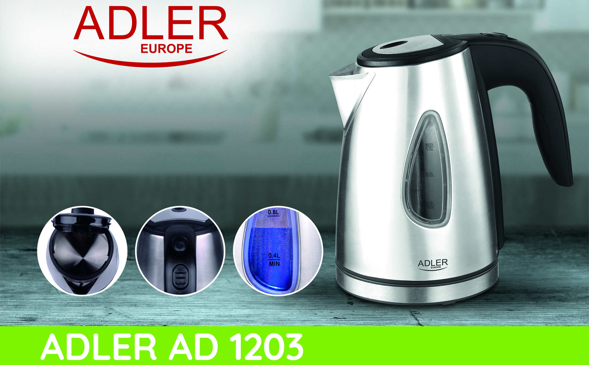 ADLER AD-1203 Stainless steel electric kettle, Backlit 1 liter, automatic lid, anti-lime filter, 360° base, 1600 W
