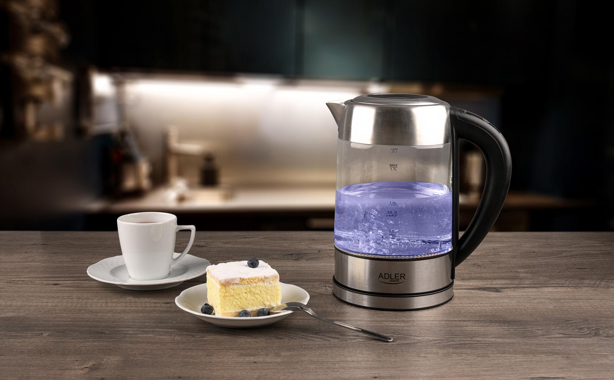 ADLER AD-1247 Hervidor de agua eléctrico cristal 1,7 litros, Regulador de Temperatura de 60 a 100 °C, resistencia oculta, 2200 W, apagado automático, inalámbrico 360º sin cable
