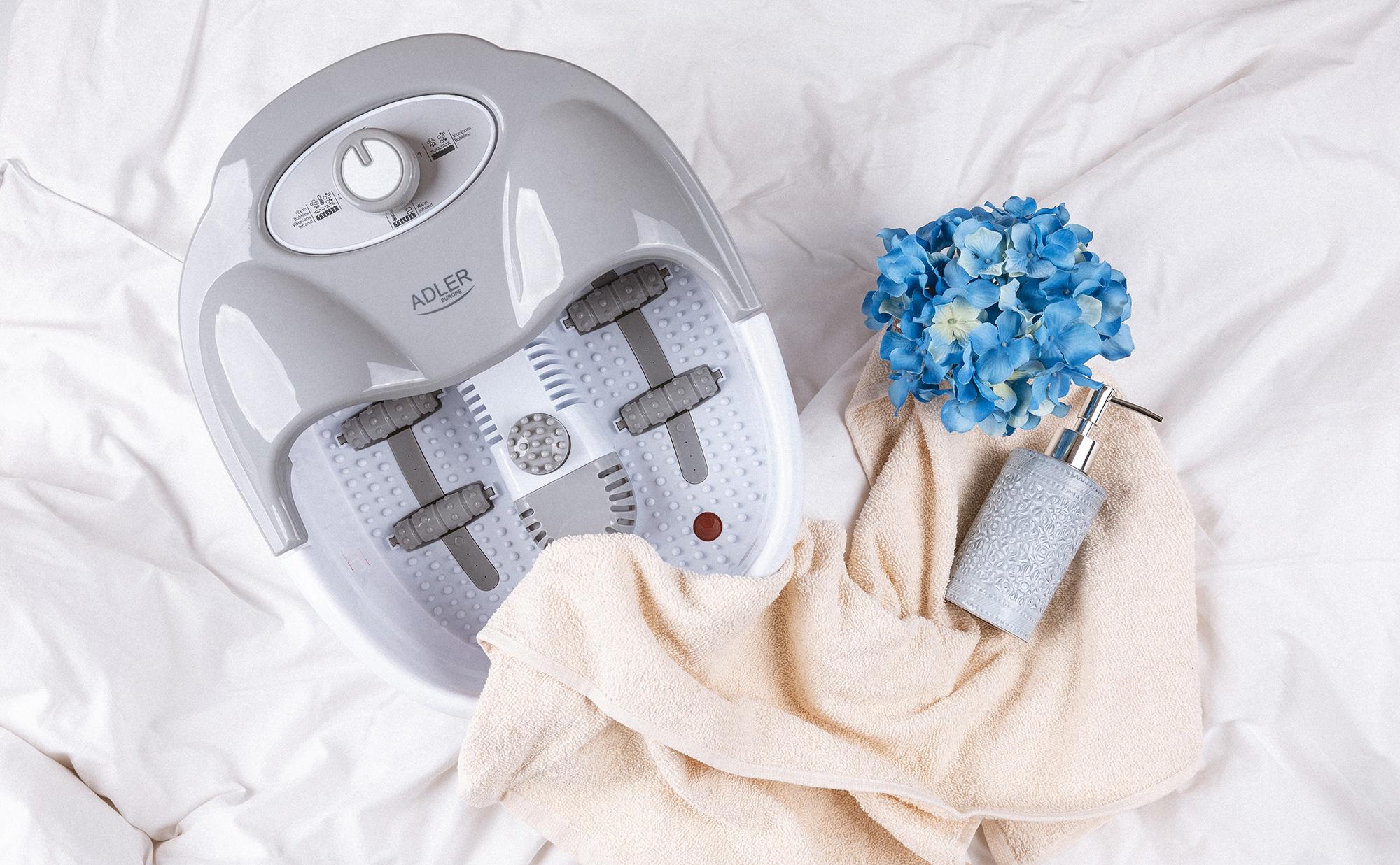 ADLER AD-2167 Masajeador de Pies con Agua, masaje de Burbujas y por vibración, Control de Temperatura por infrarrojos, Cepillos intercambiables, 80 W