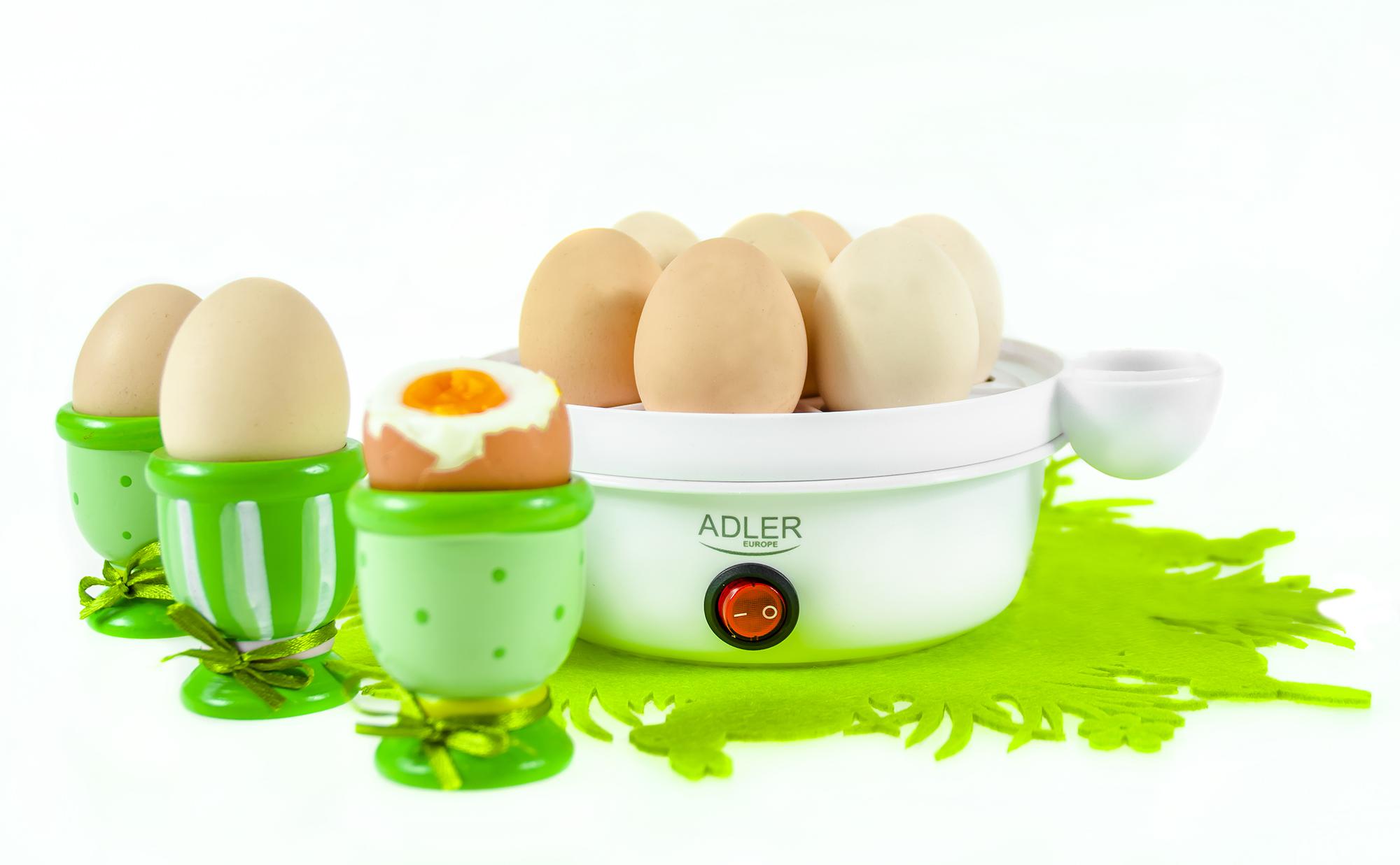 ADLER AD-4459 Cuece Huevos Eléctrico para 7 Huevos, Tapa Transparente, Ajuste de Cocción, Protección por Sobre Calentamiento, 360W, Libre de BPA
