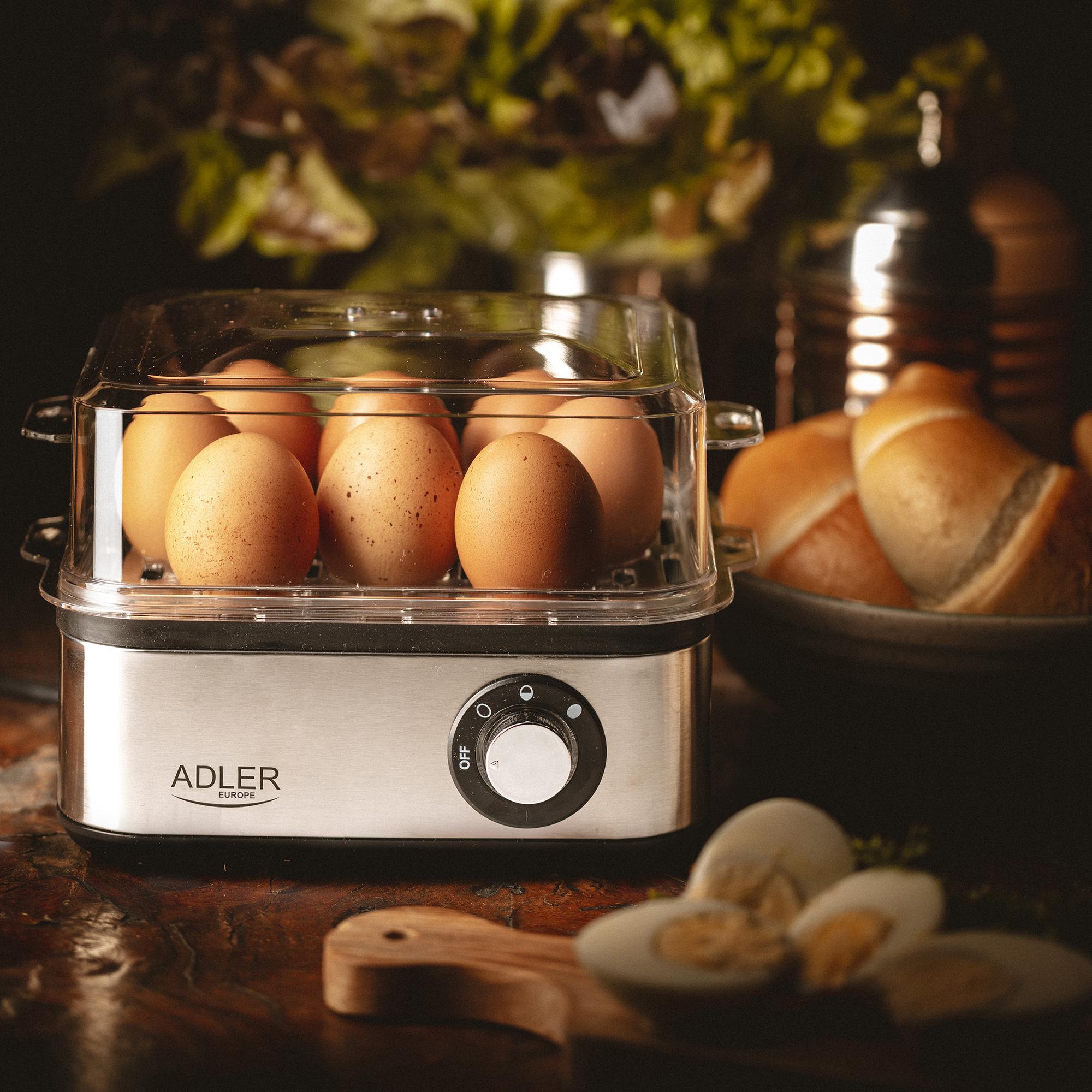 ADLER AD-4486 Cuece Huevos Eléctrico para 8 Huevos,Acero Inoxidable, Ajuste de Cocción, Protección por Sobre Calentamiento, 800W, Libre de BPA