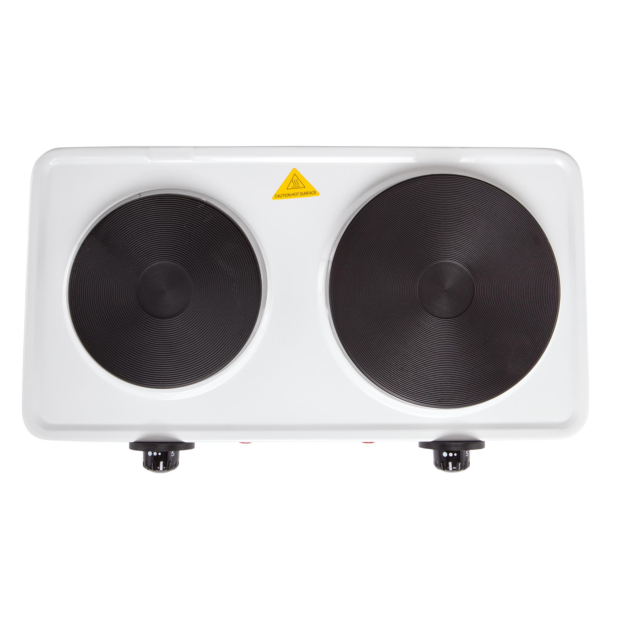 Adler AD-6504 Hornillo Eléctrico Doble, Regulador de Temperatura, Compacto, 154 y 185 mm, 2500W