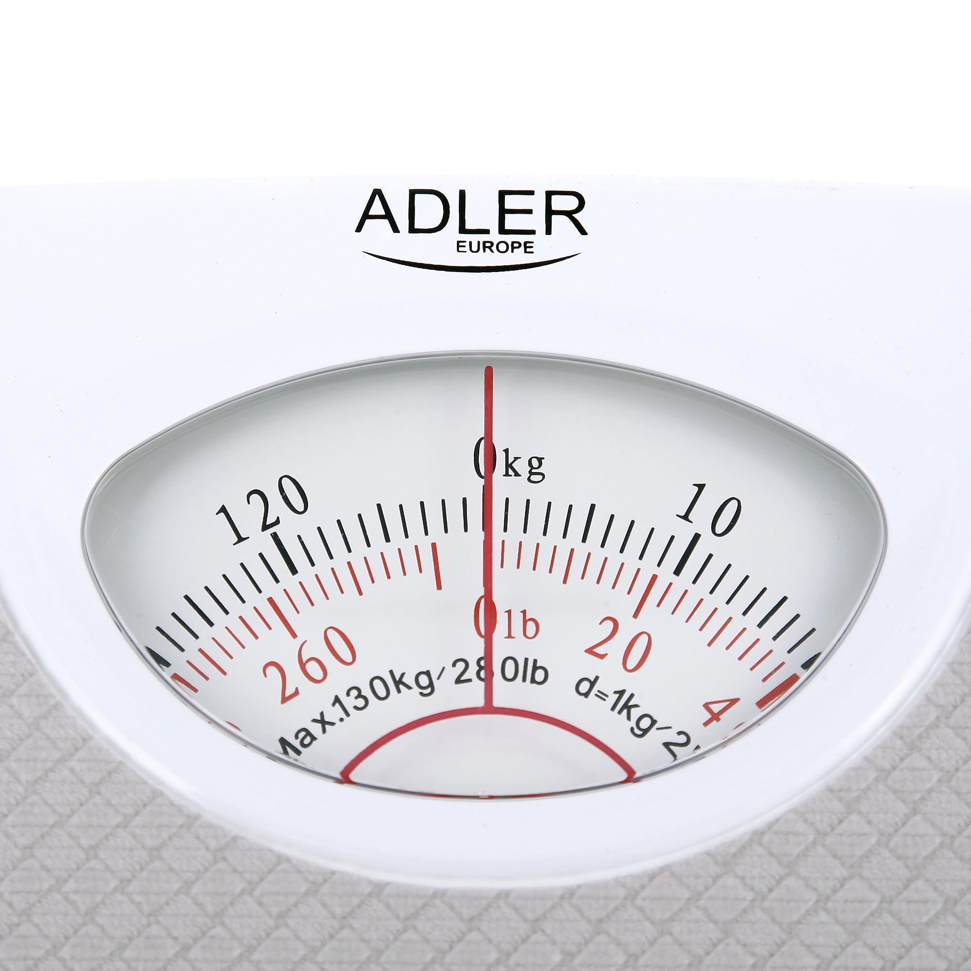 ADLER AD-8151G Báscula de Baño Mecánica, Profesional, 130 Kg, Gran precisión, Fácil de usar