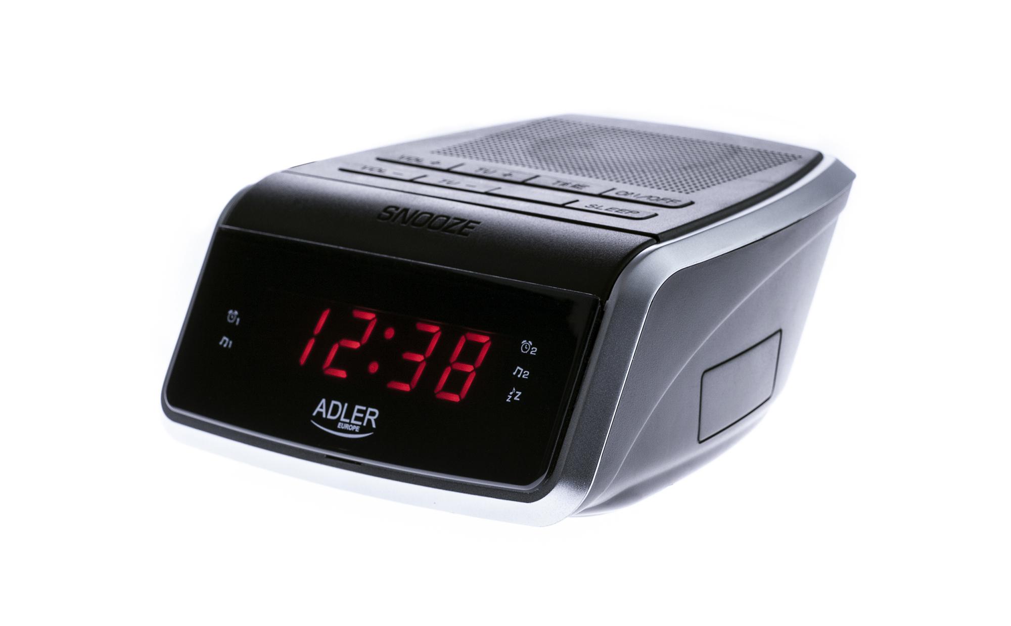 ADLER AD1157 Radiodespertador Digital AM-FM, Gran Pantalla LED, Dos Alarmas, 10 Pre sintonías, Función SNOOZE