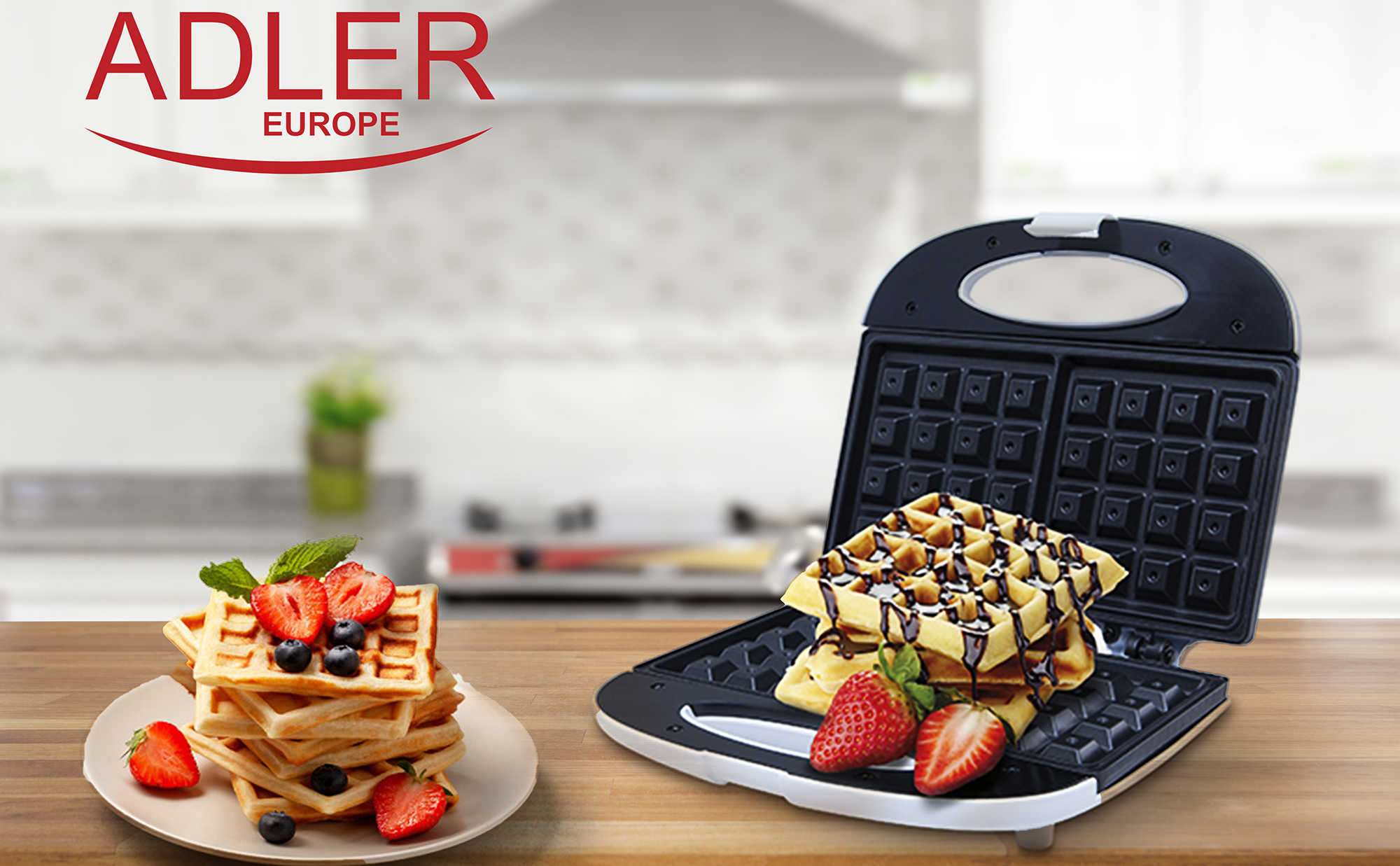 ADLER AD311 Electric waffle iron for 2 thick Belgian waffles, non-stick plates, automatic temperature, Cold Touch housing, 700 W, white