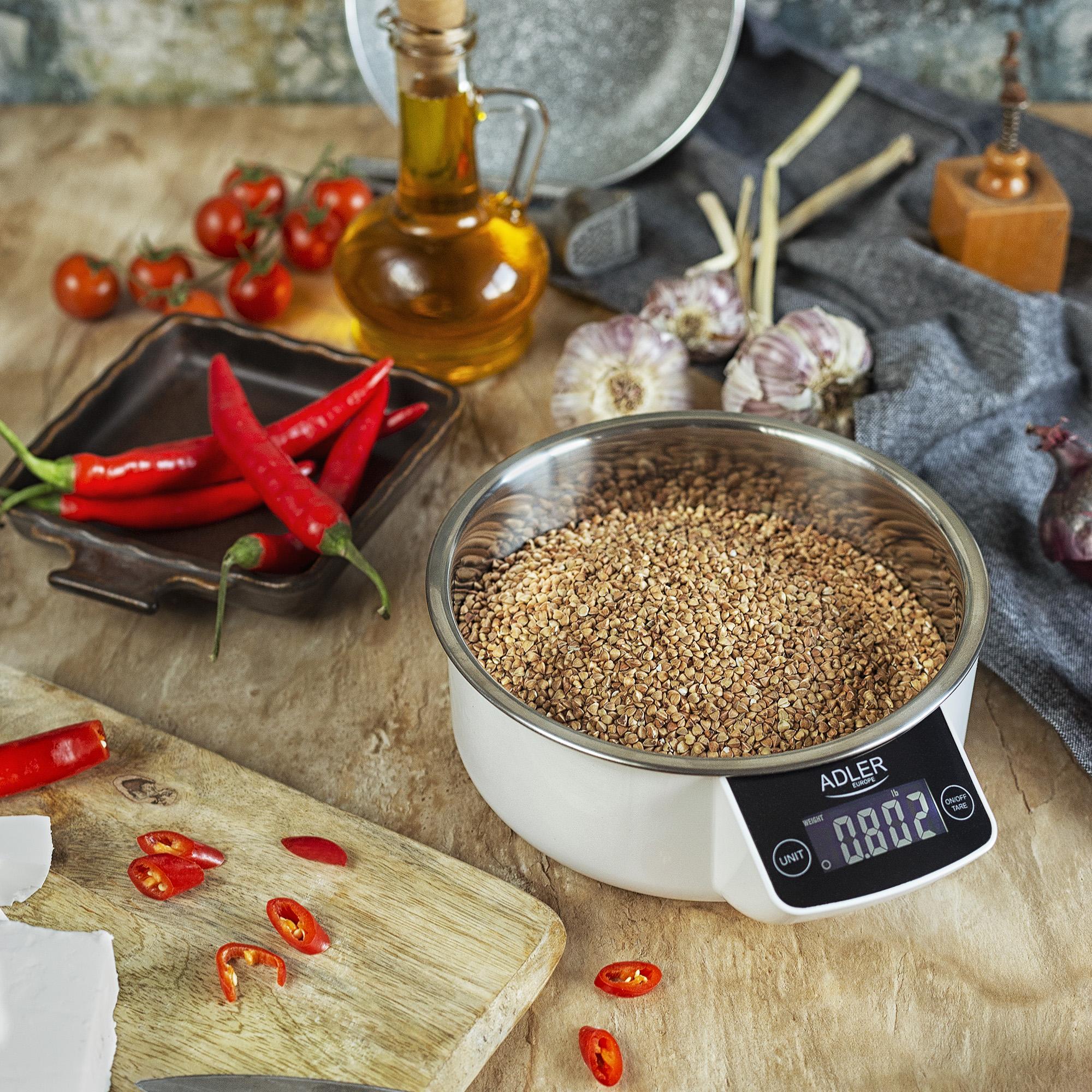 Adler AD 3166 Balanza Electrónica de Cocina Digital con Bol, 900 ml, 5 kg (11 lb), Alta Precisión 1g, TARA, medición de Líquidos