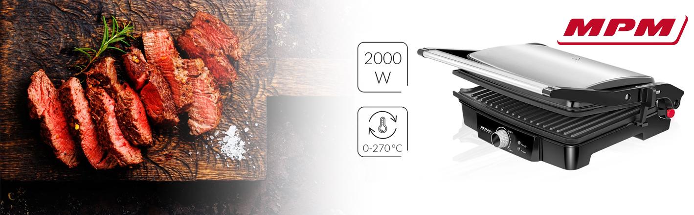 MPM MGR-09M Plancha Grill de asar doble tapa basculante adaptable en altura 180°C