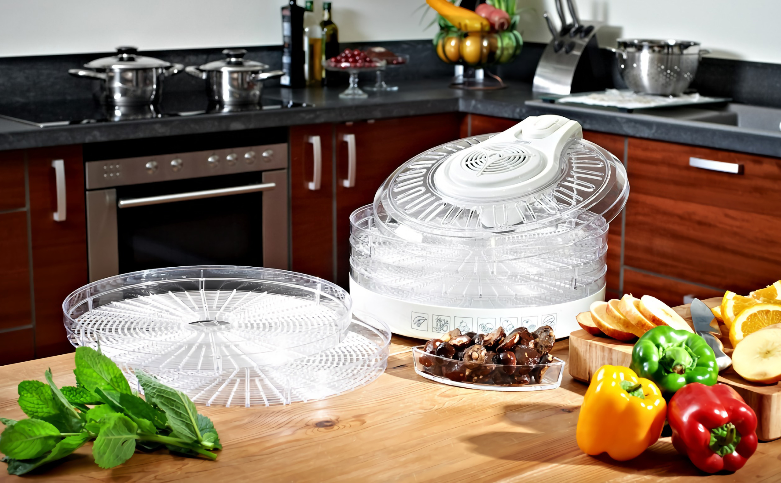 MPM MSG-02 Deshidratador de Alimentos, 3 Niveles de Potencia , 5 Bandejas expansibles de 33 cm, frutas, setas y verduras, 400W
