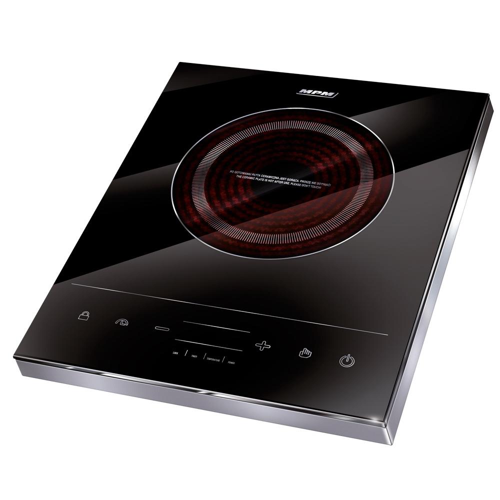 MPM MKE-06 Placa de Inducción Portátil, superficie de cristal, Control Táctil, 10 niveles de Potencia, Temporizador, Programable, 1800 W