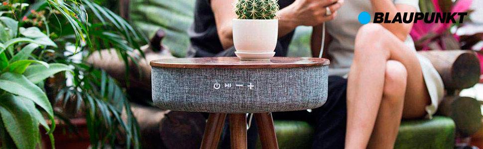 Blaupunkt BLP500 Mesa de diseño Madera Nogal con altavoz Bluetooth