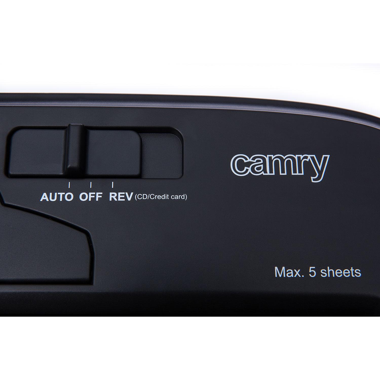 Camry CR1033 Destructora de Papel 5 hojas, trituradora de CD, DVD y tarjetas de crédito