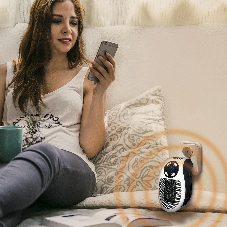 Camry CR7712 Mini Calefactor portátil cerámico sin cable, regulador de temperatura 15-30ºC digital para un bajo consumo, 700W