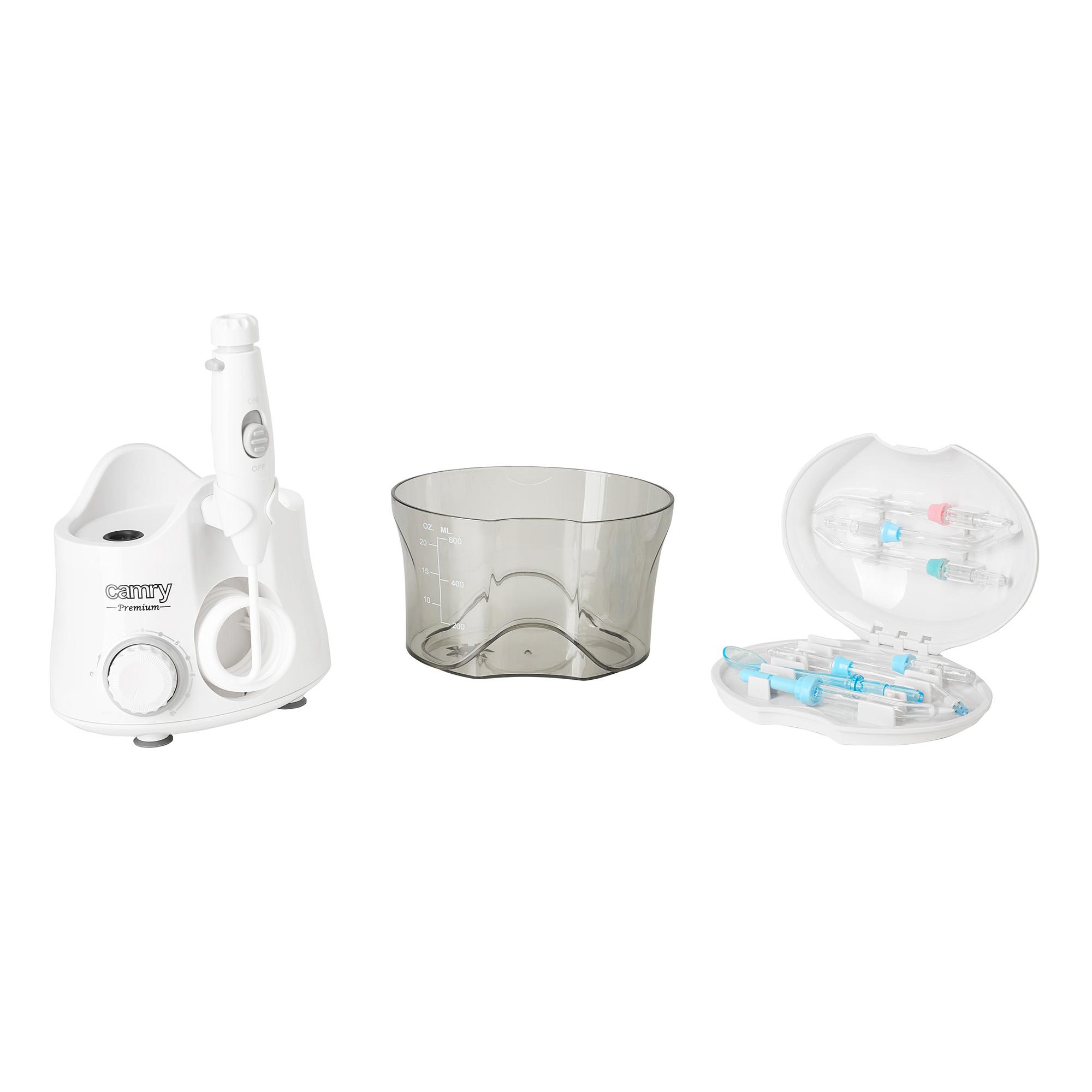 CAMRY CR-2172 Irrigador Bucal Portátil con 7 Boquillas, Multifuncional 600ml Irrigador Dental, Profesional, Limpieza de Dientes de Ortodoncia y Dientes de Implante, Lavado Pulsado de Dientes