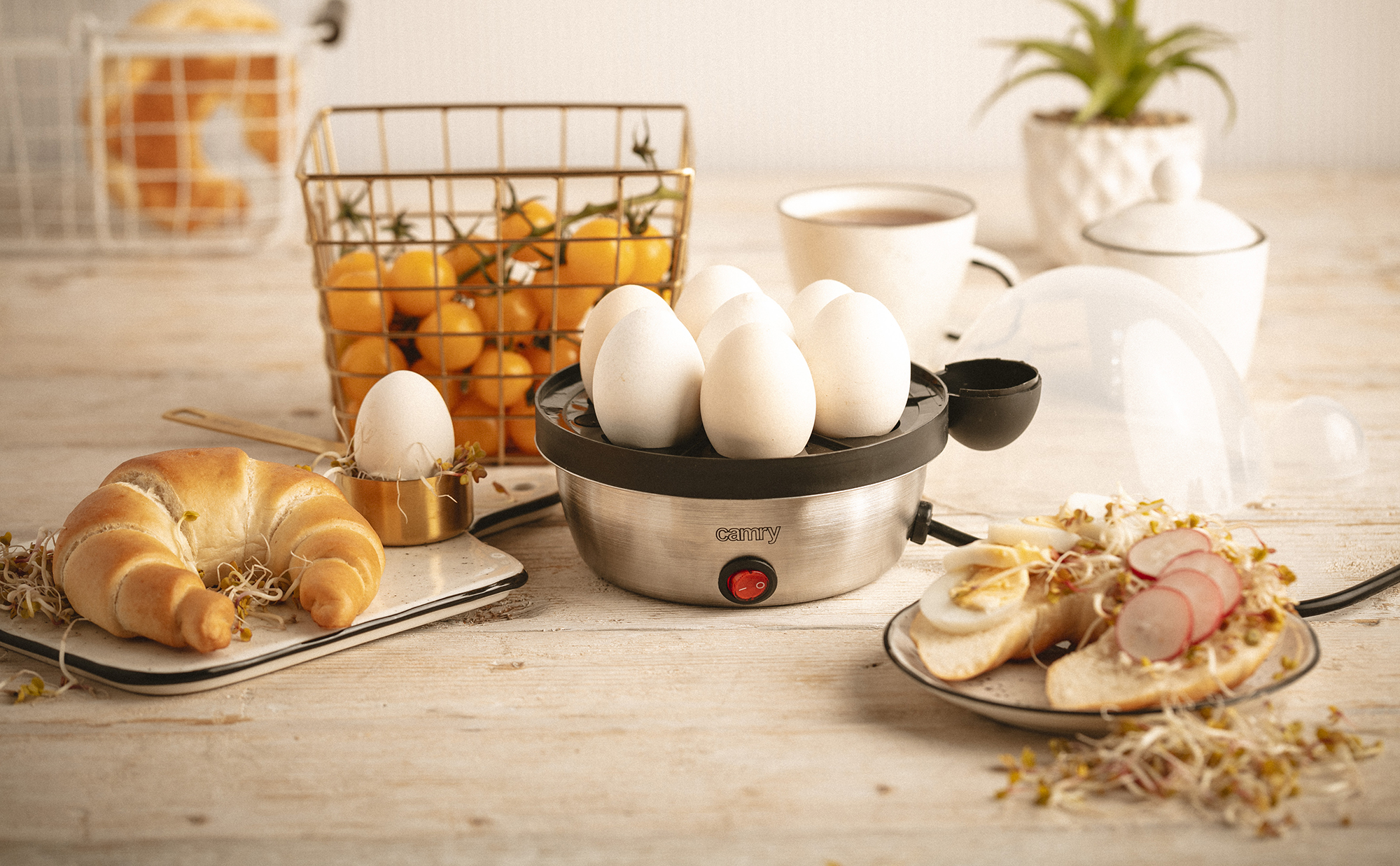 CAMRY CR-4482 Electric Egg Cooker for 7 Eggs, Stainless Steel, Cooking Adjustment, Overheating Protection, 450W, BPA free