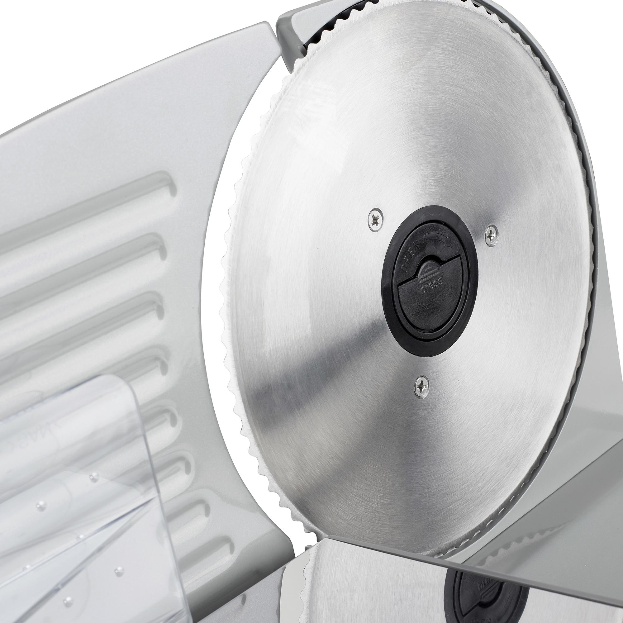 CAMRY CR-4702 Corta fiambres de acero inoxidable semi-profesional, grosor de corte ajustable 15mm, disco corte 19 cm, 150 W