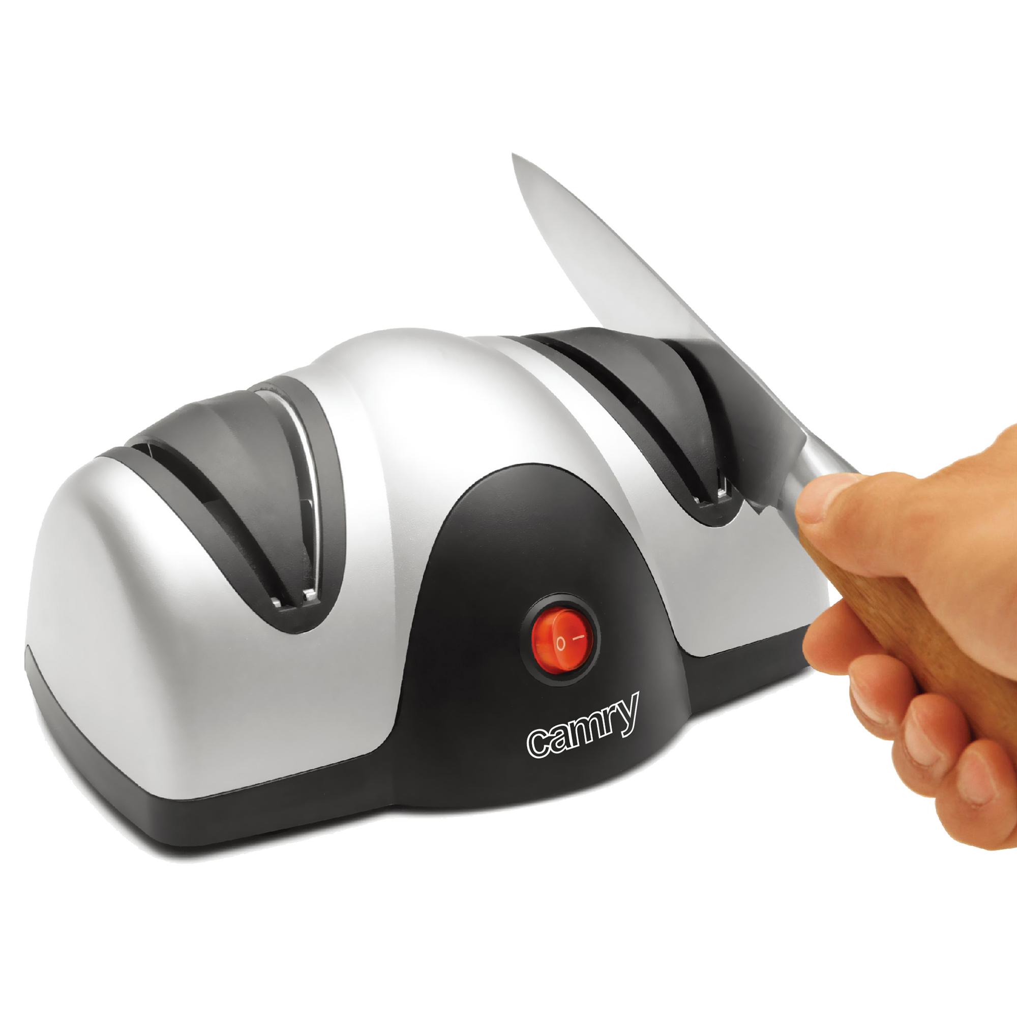 CAMRY CR4469 Afilador de Cuchillos Eléctrico Profesional, Guía de Ángulo, Afilado y Pulido, 40W