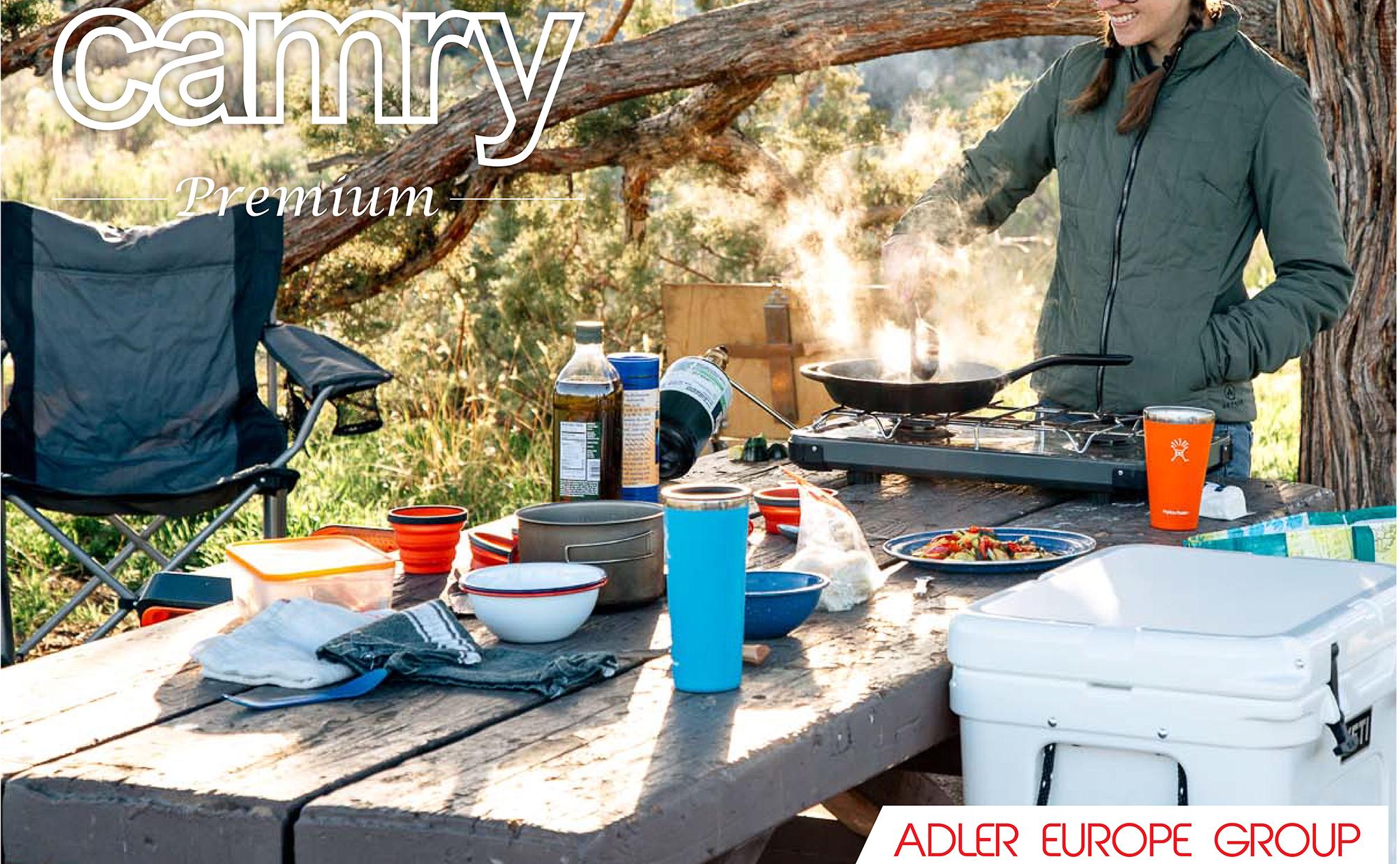 CAMRY CR6510 Hornillo Eléctrico, Placa de Cocina, Regulador de Temperatura, Acero Inoxidable, Compacto, Viaje, Camping 185 mm, 1500W