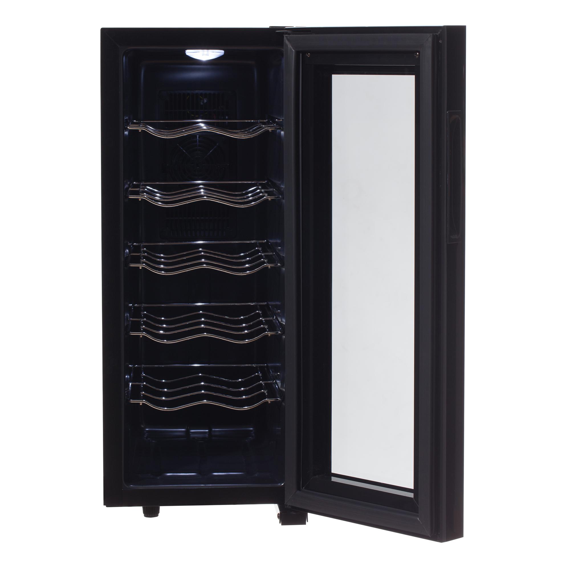 CAMRY CR8068 Vinoteca de 12 Botellas, Acero Inoxidable, Regulador de Temperatura 12 a 18 °C, Control Táctil, Iluminación Interior, Estrecha, Alta, 50W