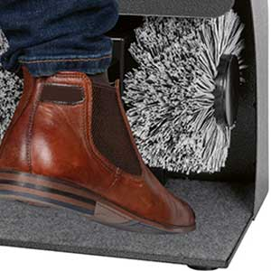 Clatronic SPM 3753 Máquina Limpia Zapatos Eléctrico, 2 Cepillos, Limpia y Abrillanta, Carcasa Metal, Dispensador de Crema, Silencioso