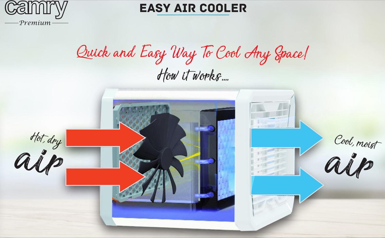 Camry CR7321 Mini aire acondicionado USB, Purificador, Humidificador, Iluminación Atmosférica LED, 3 Velocidades, Depósito de agua
