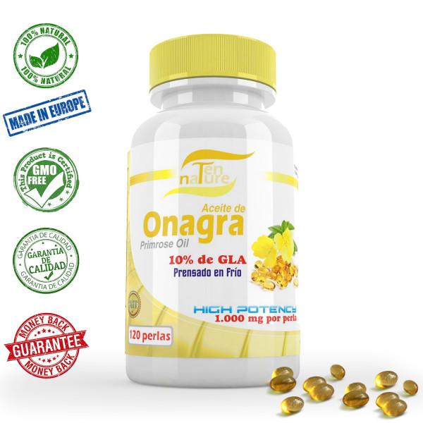 Aceite de Onagra 1000mg x 120 perlas | Calidad Premium | Prensado en frío | 10% de ácido gamma linoleico (GLA) | 100% Natural sin GMO | Fabricado en España