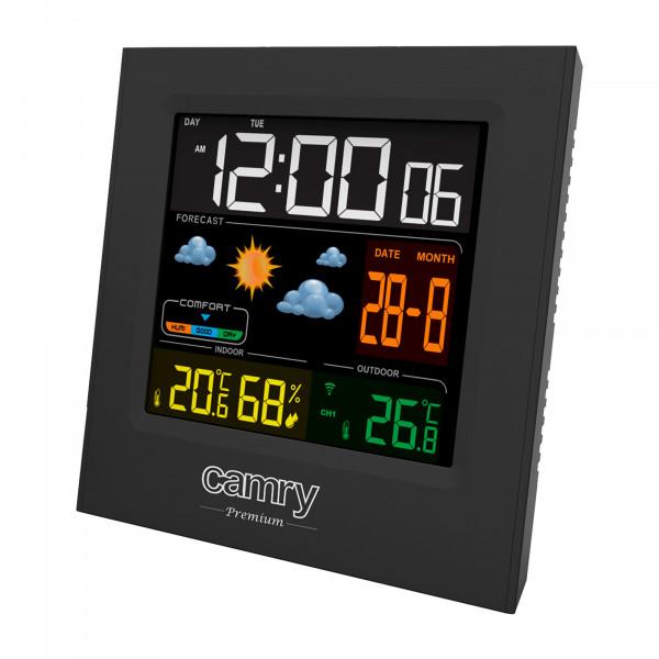 CAMRY CR1166 Estación Meteorológica Temperatura y Humedad Interior y Exterior, Sensor Inalámbrico, Pronóstico de Tiempo, Indicador Fecha y Hora, 2 Alarmas Independientes