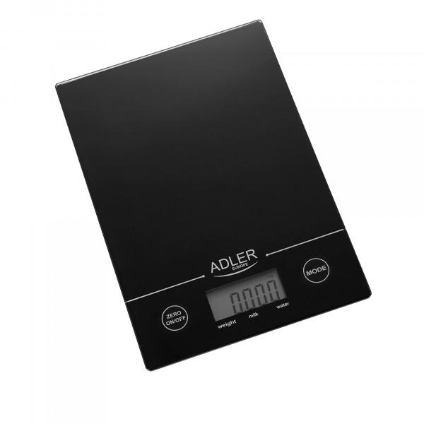 Adler AD3138B Báscula de Cocina Digital, 5 kg, pasos 1 g, Función Tara, Negra