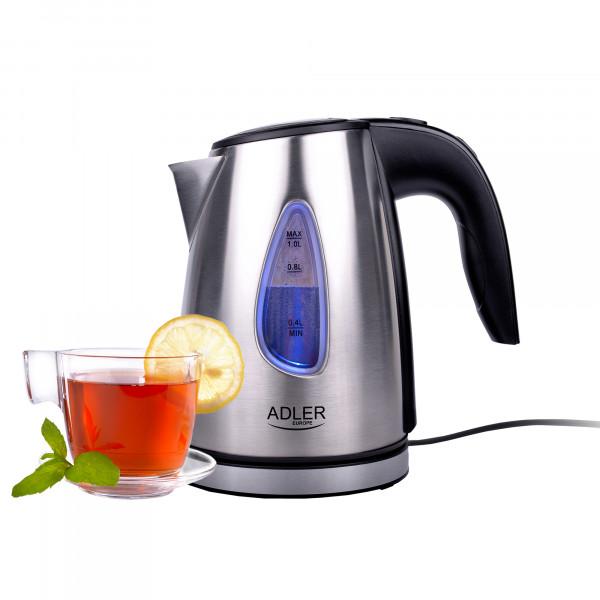 ADLER AD-1203 Hervidor De Agua Eléctrico de Acero Inoxidable, Retroiluminado 1 Litro, Tapa automática, Filtro Anti cal, Base 360º, 1600W
