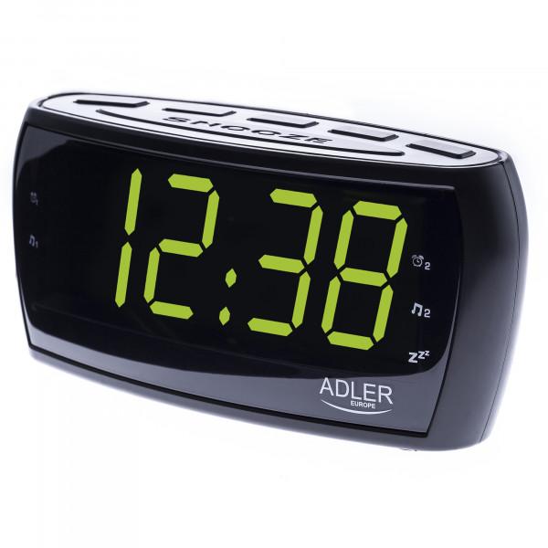 ADLER AD1121 Radiodespertador Digital AM-FM, Gran Pantalla LED, Control de Brillo, Función SNOOZE