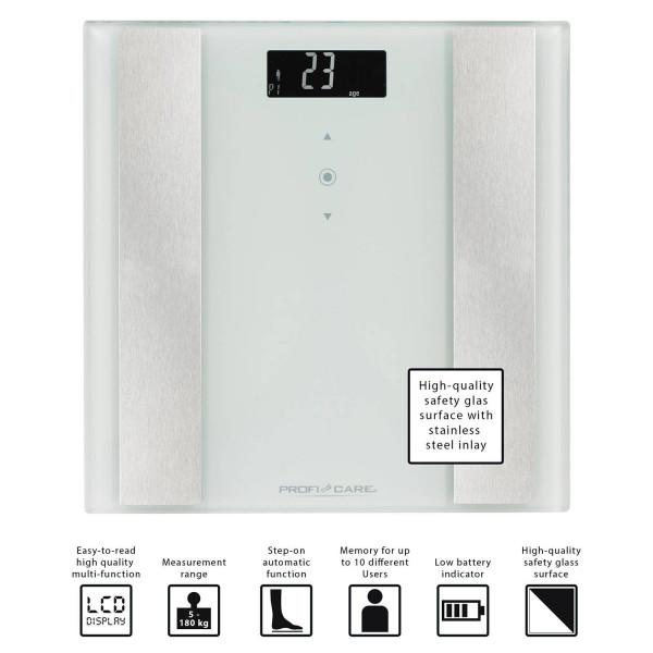 Proficare PW 3007 - Báscula de análisis corporal de 8 funciones, de cristal y acero inoxidable, color blanca