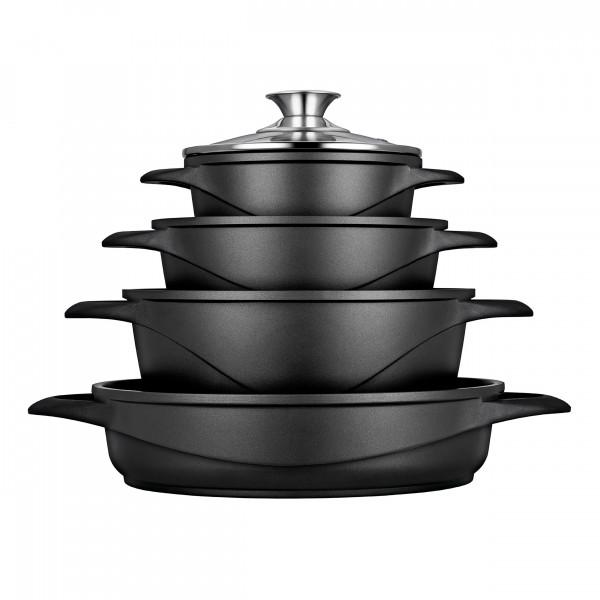 Smile MGK17 - Batería de Cocina Inducción 8 piezas, Aluminio Fundido, 4 Ollas, Tapas de Vidrio, Apta para Todo Tipo de Cocinas, libre PFOA