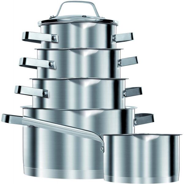 Smile MGK11 - Batería de Cocina Inducción 10 piezas Acero Inoxidable 5 ollas, 1 cazo, 5 tapas cristal, apta para todo tipo de cocinas