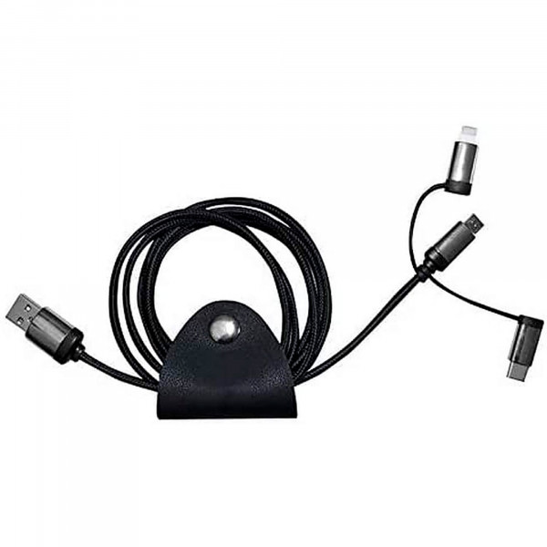 Blaupunkt BLP0201 Cable de Recarga 3 en 1, entradas Micro USB, Lighting (IOS) y USB TYPE C, 150cm, Nylon