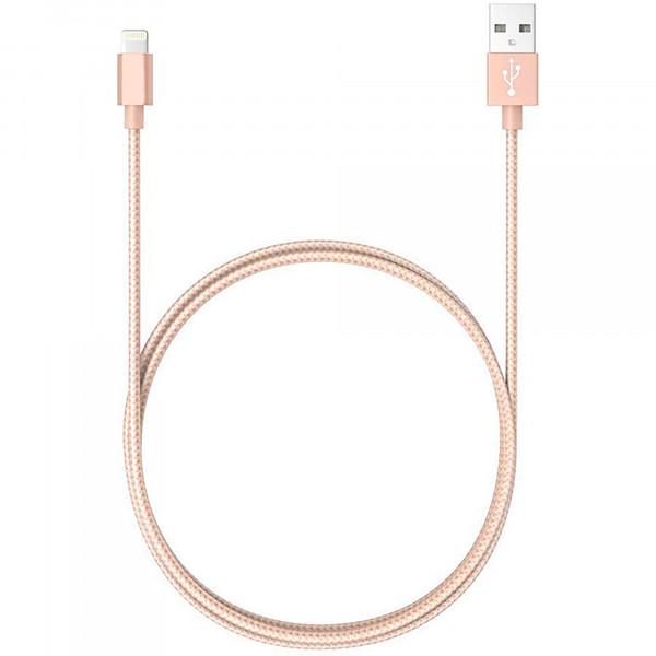 Blaupunkt BLP0213.191 Cable Cargador Lightning a Macho USB, Carga Rápida, Nylon Trenzado, 1,2m, Cable Alimentación IOS, Dorado