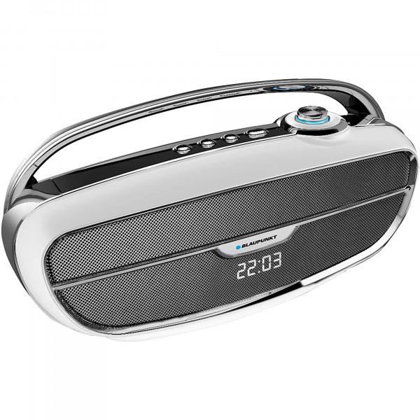 Blaupunkt BLP3360 Altavoz Bluetooth, Vintage, Radio FM, USB, MICRO SD, AUX, Portátil, Potencia Sonido 10W, Subwoofer 9W, Alcance 10m, Inalámbrico, Batería Recargable, Manos Libres, Color Plata