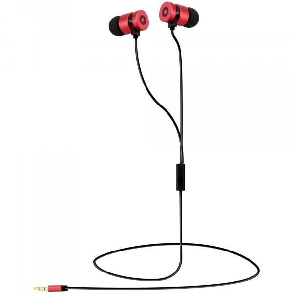 Blaupunkt BLP4650 Auriculares con Cable Magnéticos, Manos Libres compatible con IOs y Android , Calidad de Sonido, 6mW, Negro/Rojo