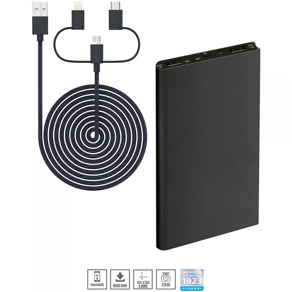 Blaupunkt BLP7200.133 Power Bank 8000mAh, Batería Externa, Cargador con cable 3 en 1, para IOs, Android, Móviles, Tablets, Negro