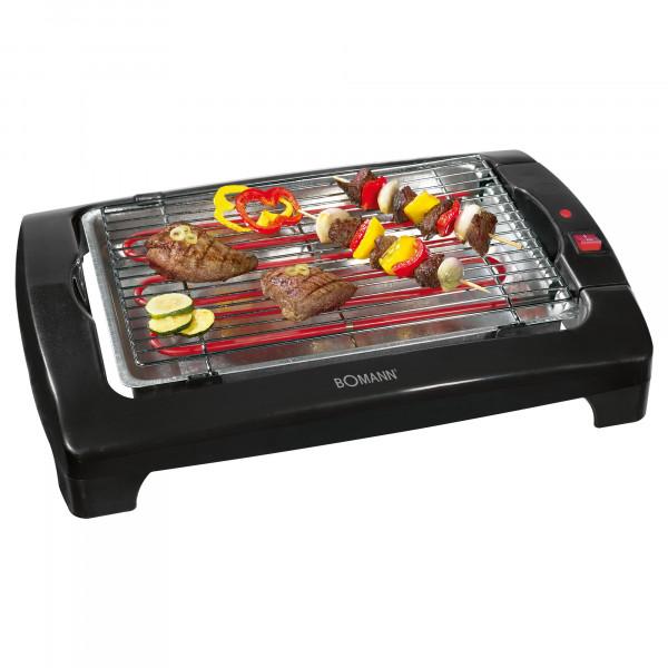 BOMANN BQ 1240 - Barbacoa eléctrica con parrilla cromada de 35,5 x 24,5 cm, 2000 W, color negro