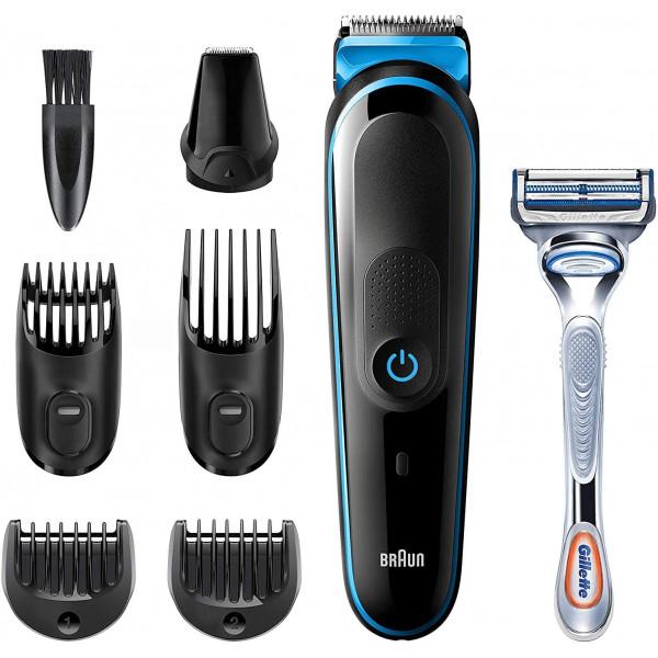 Braun MGK3242 Recortadora 7 en 1, Máquina recortadora de barba, cortapelos y recortadora facial para hombre, color negro/azul