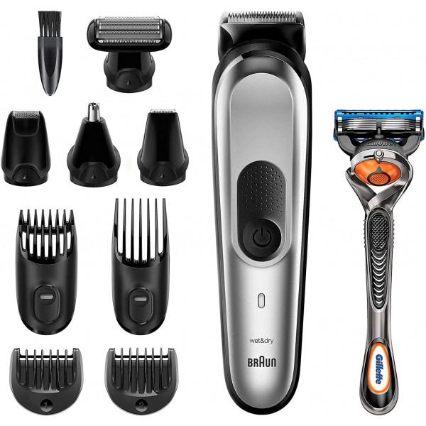 Braun MGK7220 Recortadora 10 en 1, Máquina recortadora de barba, set de depilación corporal y cortapelos para hombre, color gris plateado