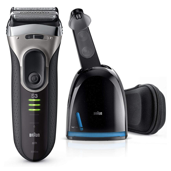 Braun Series 3 ProSkin 3090cc - Afeitadora eléctrica inalámbrica y recargable, máquina de afeitar para hombre, estación de limpieza y carga, bolsa de viaje, negro