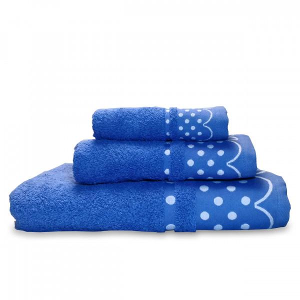 briebe Home Juego de Toallas Baño 100% algodón Rizo 450gr, Set 3 Piezas, Polka Dots, 3 tamaños Ducha Sábana, Manos, Tocador, Cenefa Lunares Bordada, Hecho en Portugal, azul fuerte
