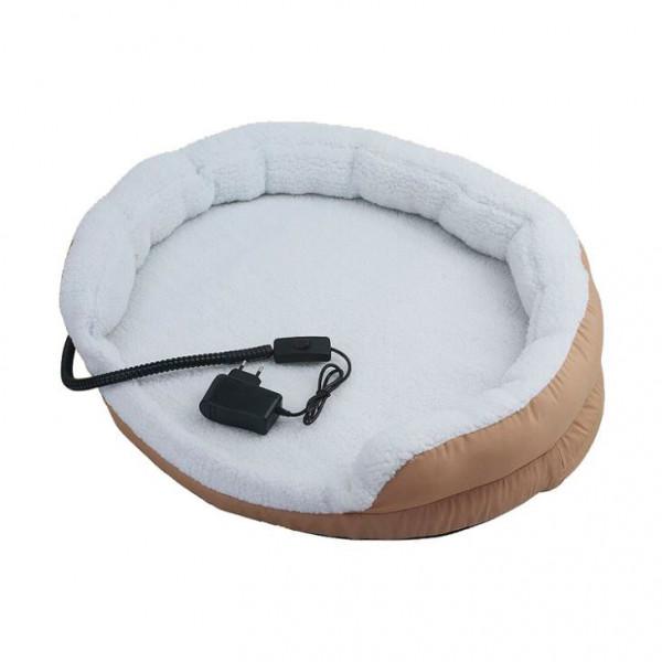 Briebe Pet Warner Cama para perros y gatos eléctrica calefactora redonda 76x12cm, calefación para mascotas, lana sintética suave, anti-mordida 15W
