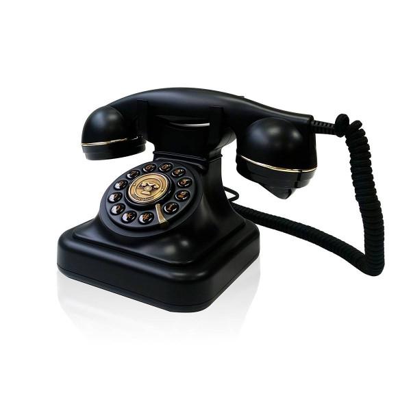 Briebe Vintage Retro - Teléfono analógico con cable, diseño estilo antiguo, color negro