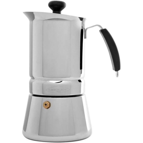 Oroley ARGES Cafetera Italiana Inducción 2 Tazas acero inoxidable para Todo tipo de Cocinas