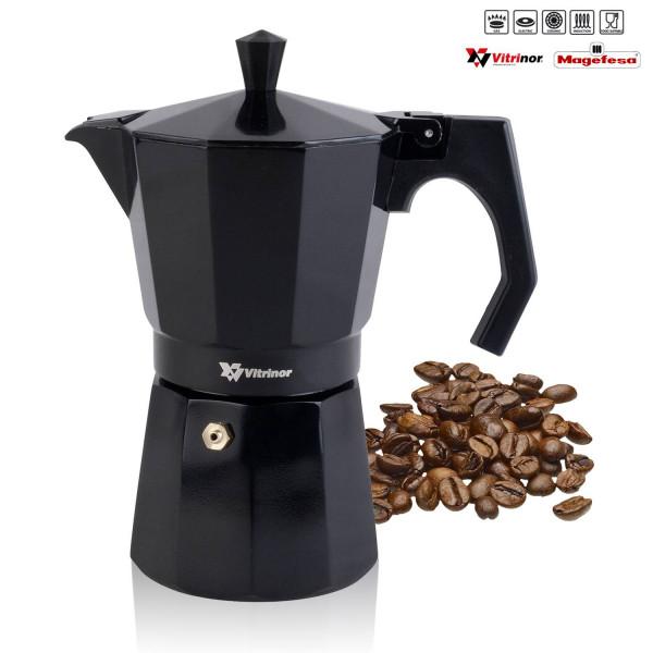 Magefesa BLACK - Cafetera Italiana de aluminio express, 6 tazas café, inducción, apta para todas las cocinas, color negro, junta de cierre de silicona, válvula de seguridad