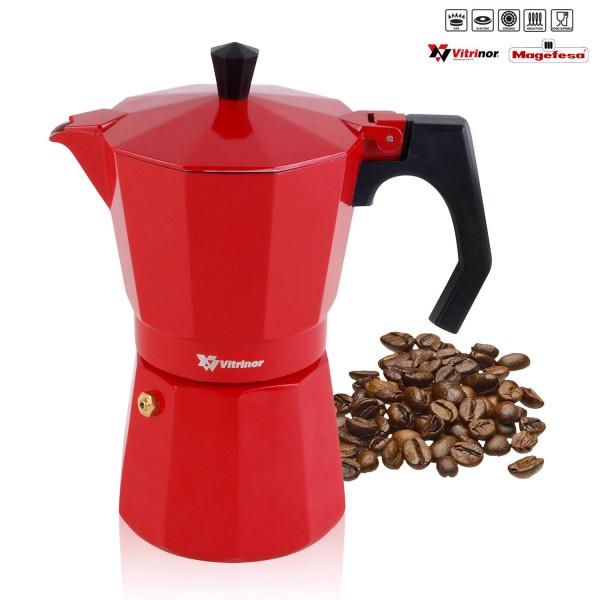 Magefesa PRAGA - Cafetera Italiana de aluminio express, 6 tazas café, inducción, apta para todas las cocinas, color rojo, junta de cierre de silicona, válvula de seguridad